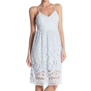 Eyelet Lace Overlay Pastel Blue A-Line Dress Dex